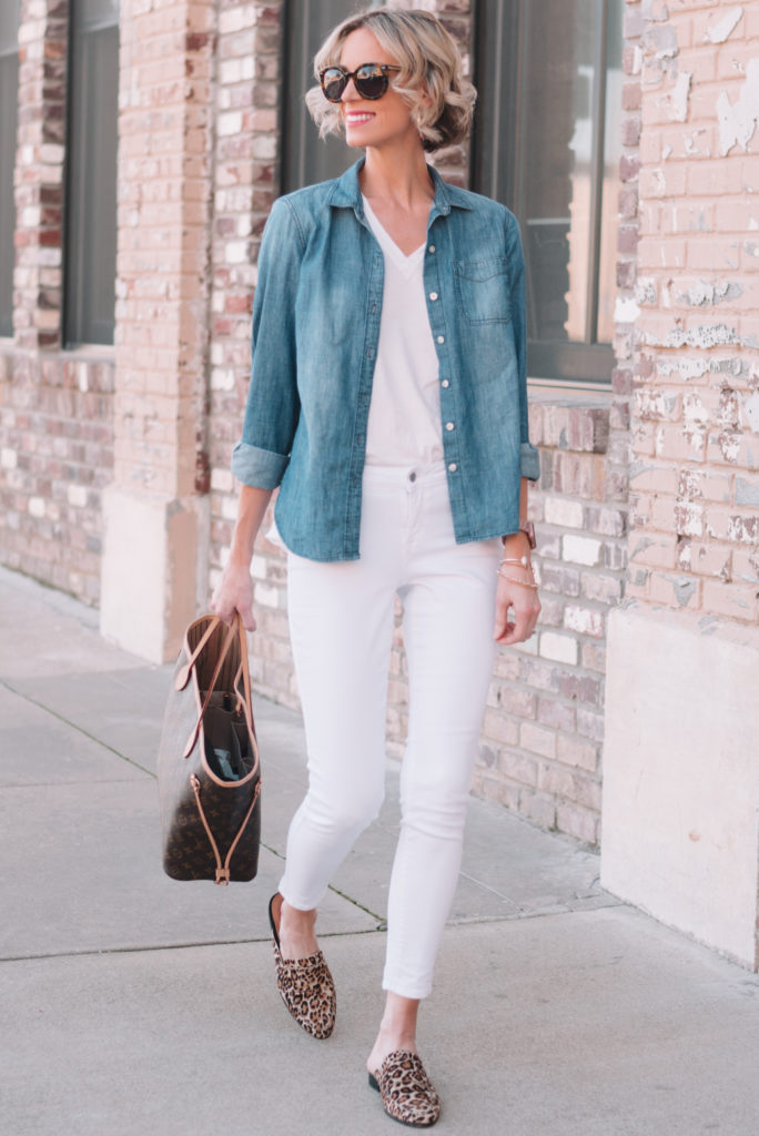 white jeans and white t-shirt with chambray top as layer