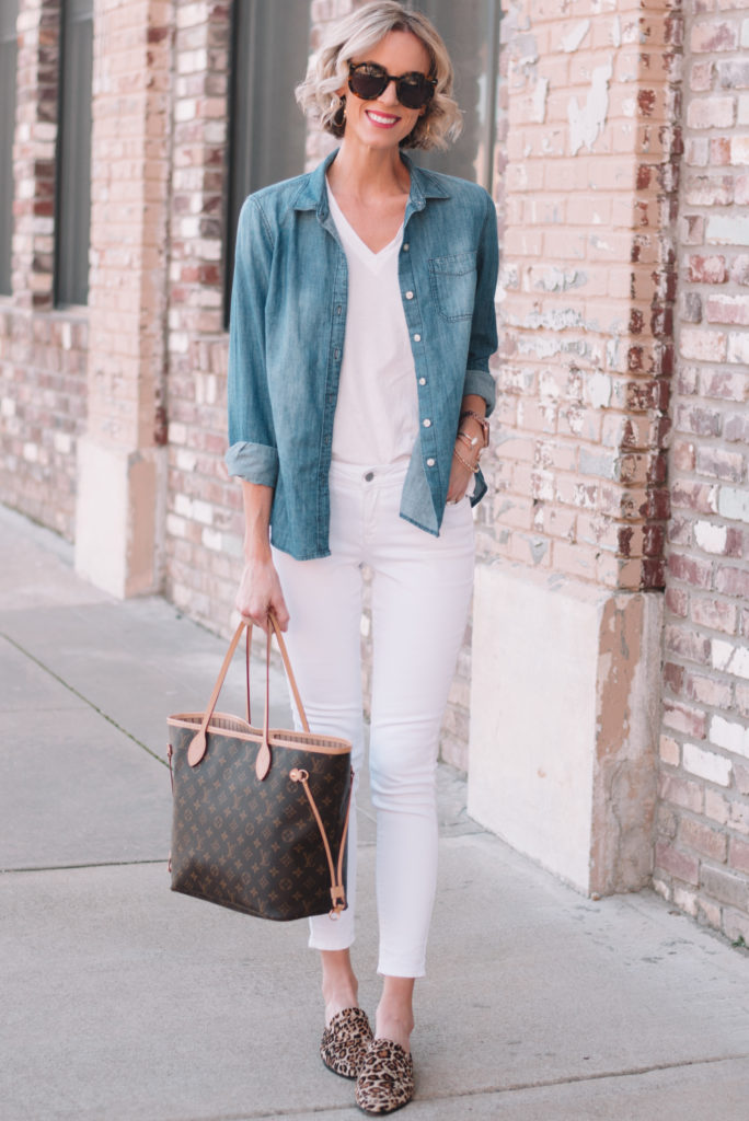I love styling a chambray shirt shirt open layered over any type of t-shirt and paired with jeans.