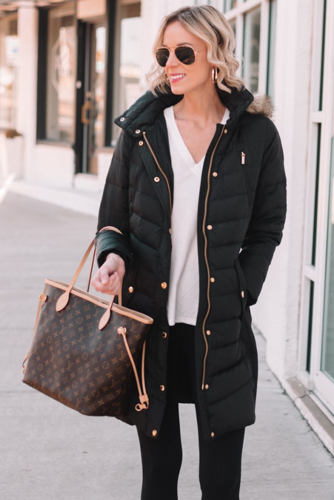 classic knee length black puffer coat for winter