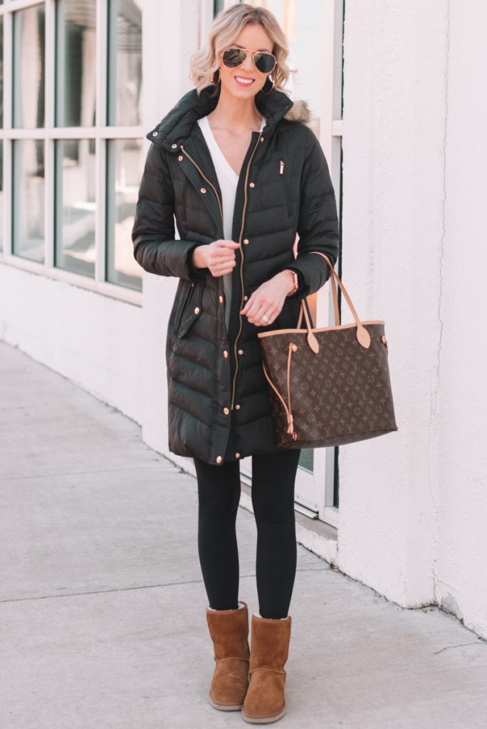 casual mom style, black puffer coat with black leggings and UGGS