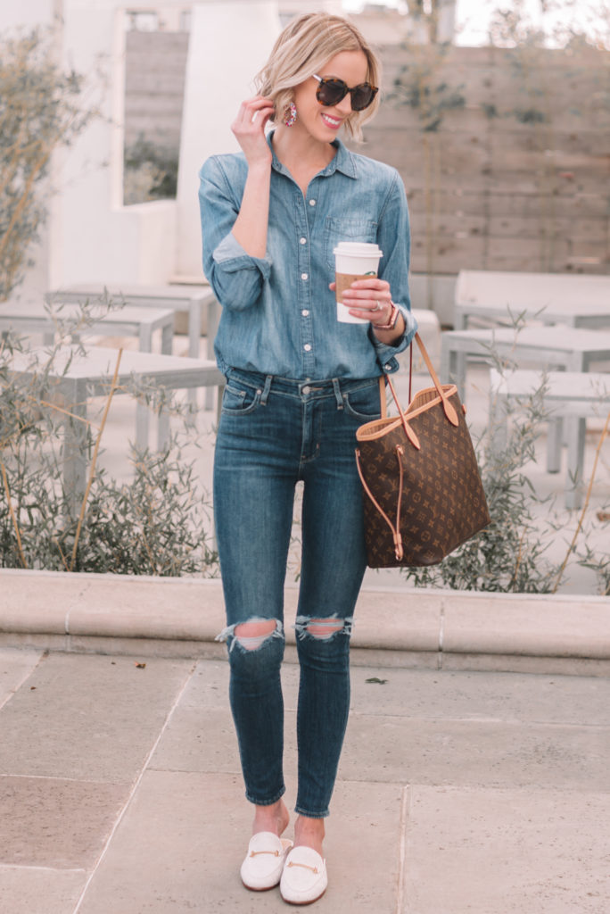Who doesn't love a double denim outfit?! This is such an easy and cute chambray shirt outfit idea.