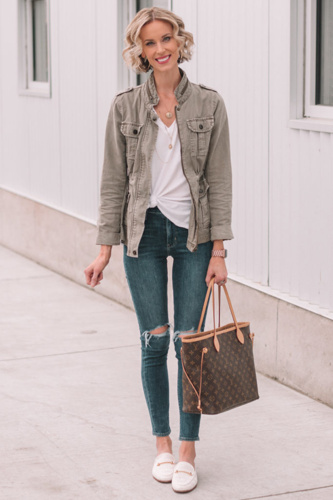 utility jacket with a white t-shirt and distressed jeans, mini casual capsule wardrobe, 4 ways to wear a white t-shirt