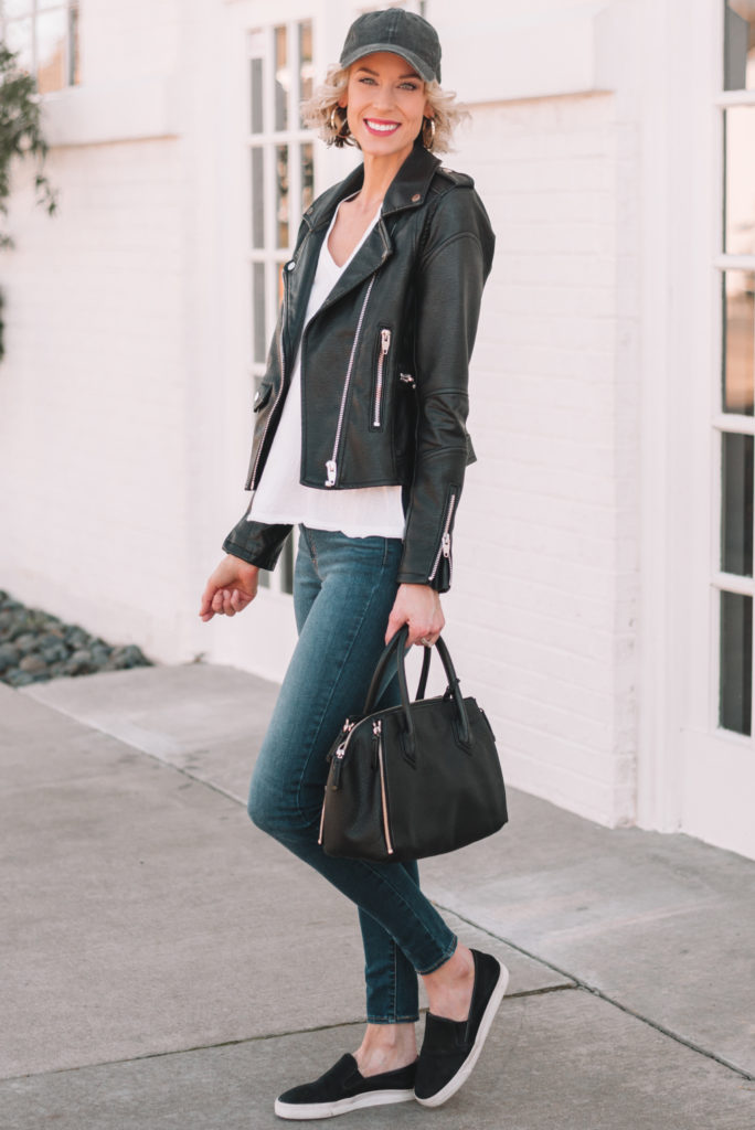 black leather jacket with white t-shirt and hat, cute casual outfit for spring
