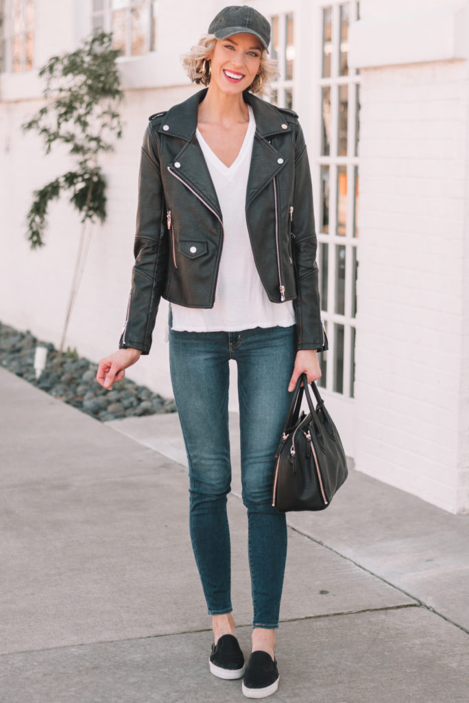 white t-shirt with jeans and black leather jacket