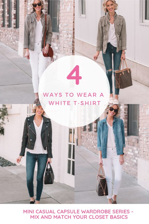 4 ways to wear a white t-shirt as part of a mini casual capsule wardrobe - how to mix and match your closet basics, easy spring outfit ideas for every women