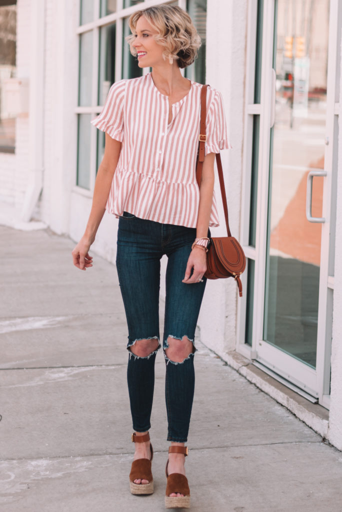 easy spring outfit idea, striped top with wedges