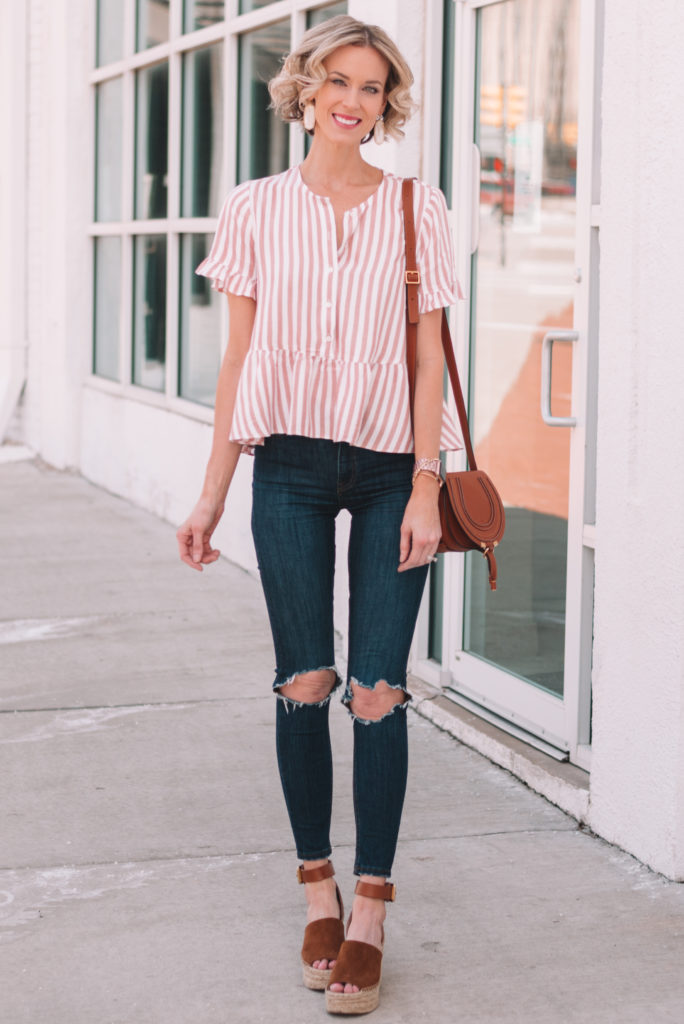 spring outfit idea, striped peplum top, cognac wedges that go with everything - click for coupon code