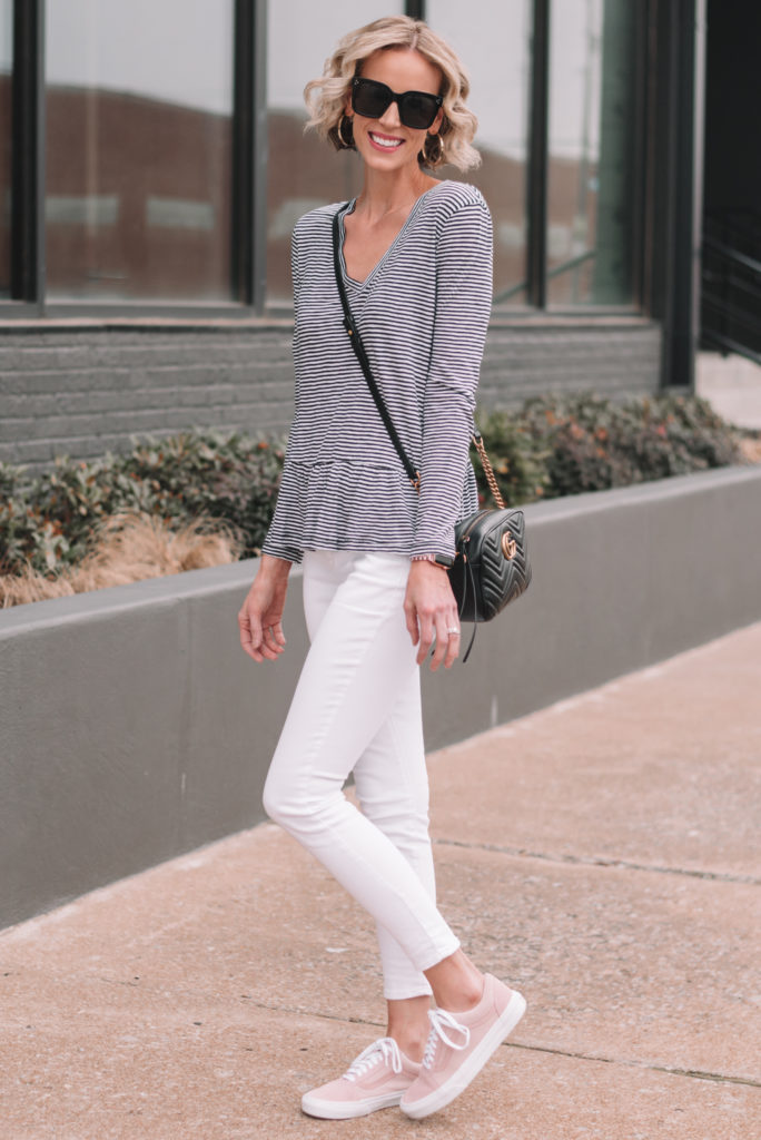 mini casual capsule wardrobe, 13 pieces, 10 outfits - striped peplum shirt, white jeans
