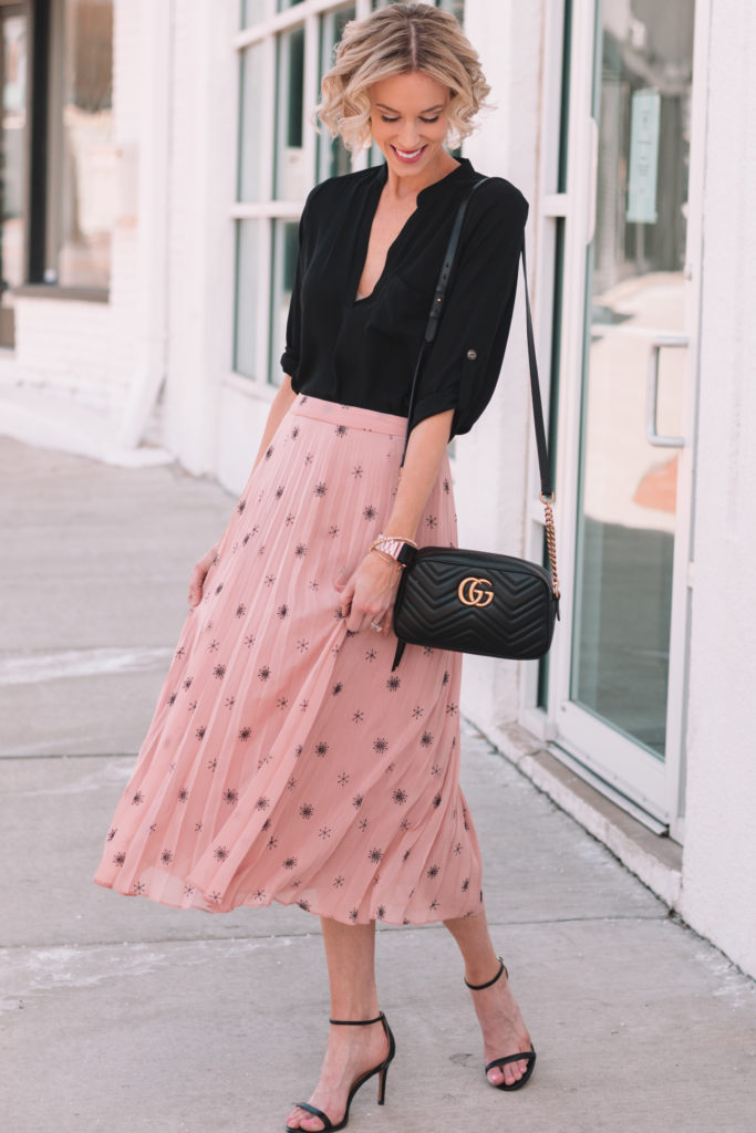 midi skirt obsession, gorgeous blush embroidered midi skirt paired with black tunic top for spring