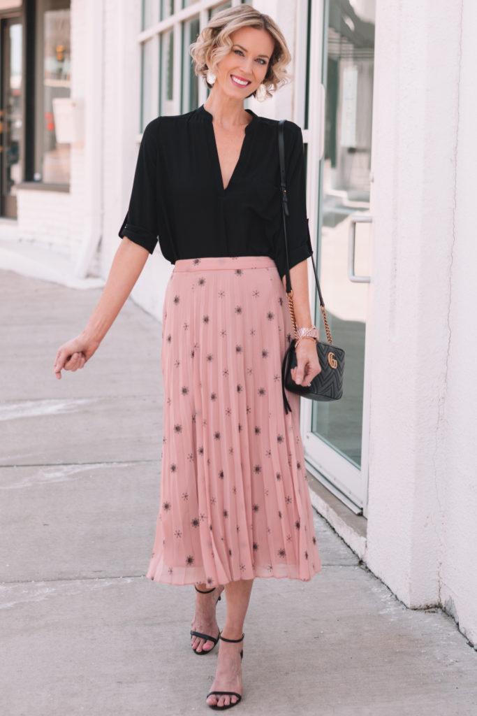 how to style a midi skirt for spring, blush midi skirt, black dressy blouse
