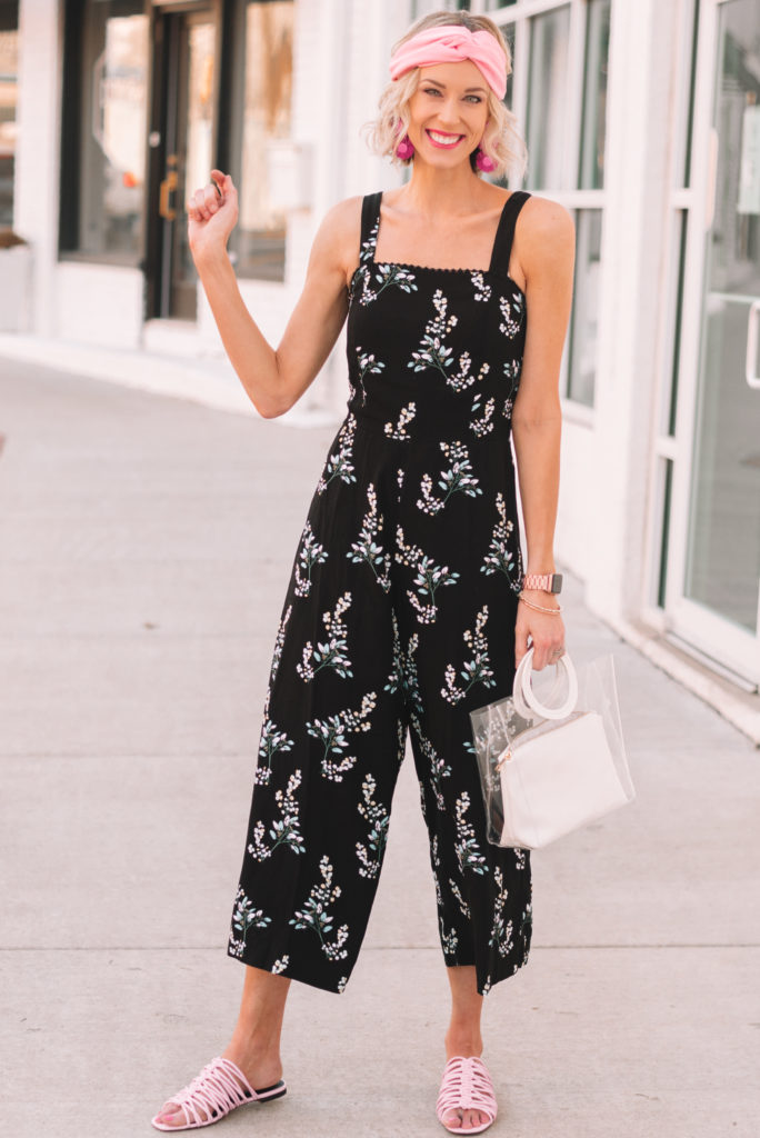styling a jumpsuit casually for spring, wide leg floral jumpsuit