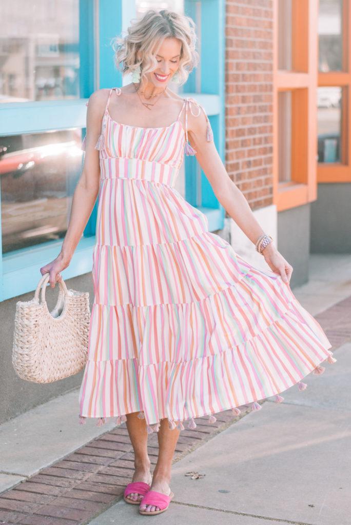 tiered striped midi dress that just screams summer