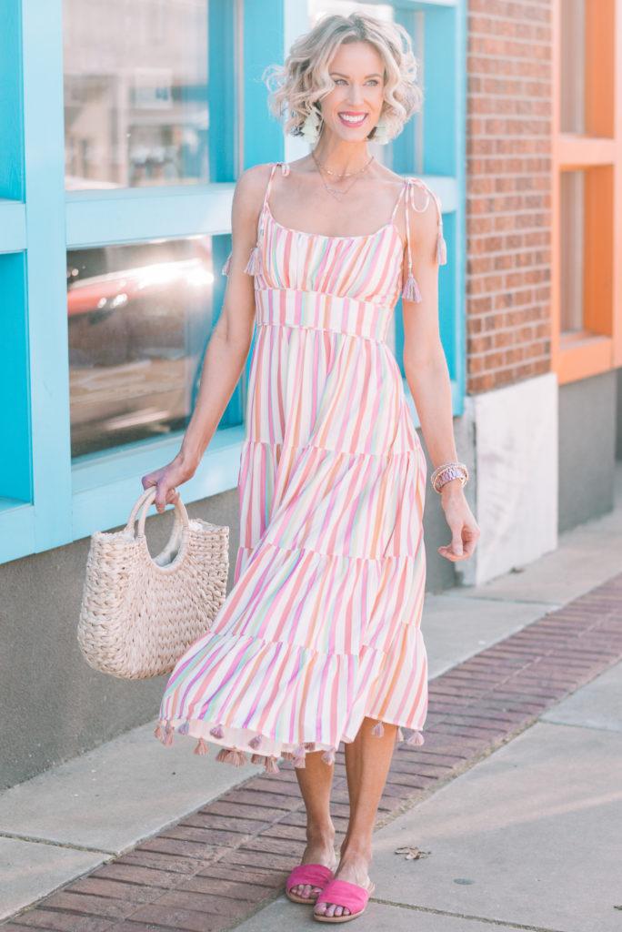 colorful and fun striped midi dress in bright colors