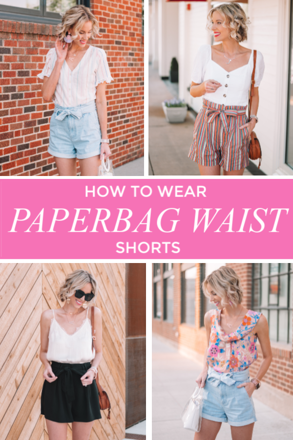 how to wear paperbag waist shorts, tips for styling paperbag waist shorts, denim paperbag waist shorts, dressy shorts for women, black dress shorts, rainbow stripe shorts #paperbagwaist #paperbag #paperbagshorts #paperbagstyle #paperbagwaistshorts #shorts #summershorts