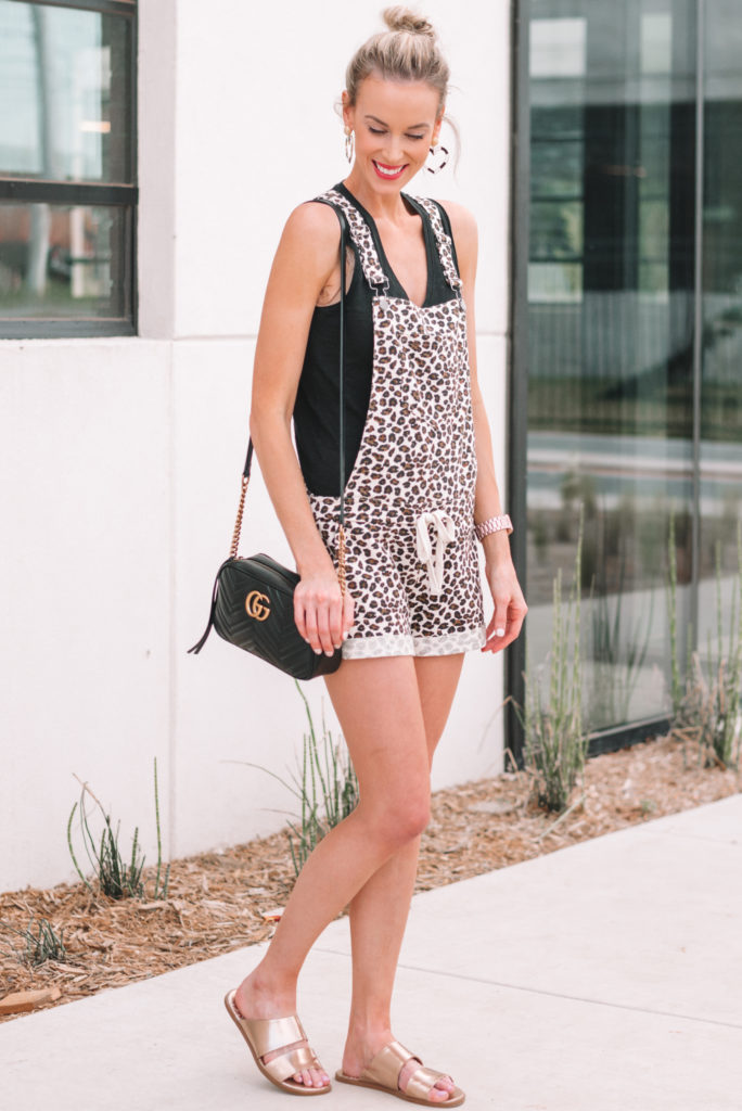 soft leopard overalls with black tank top for summer