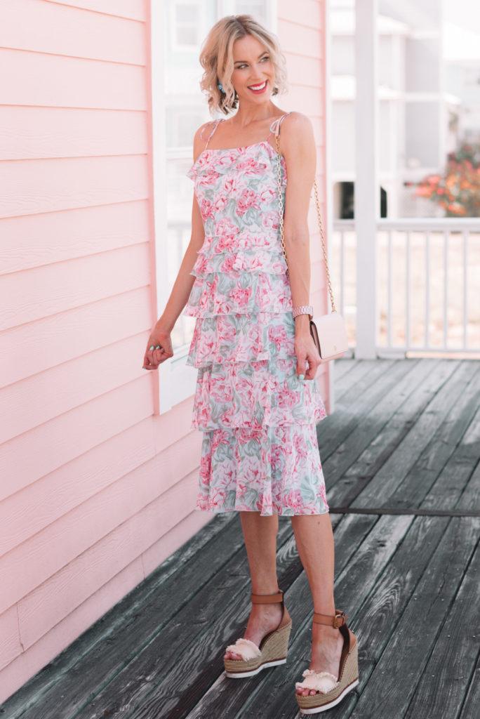 tiered floral wedding guest dress for summer, floral dress