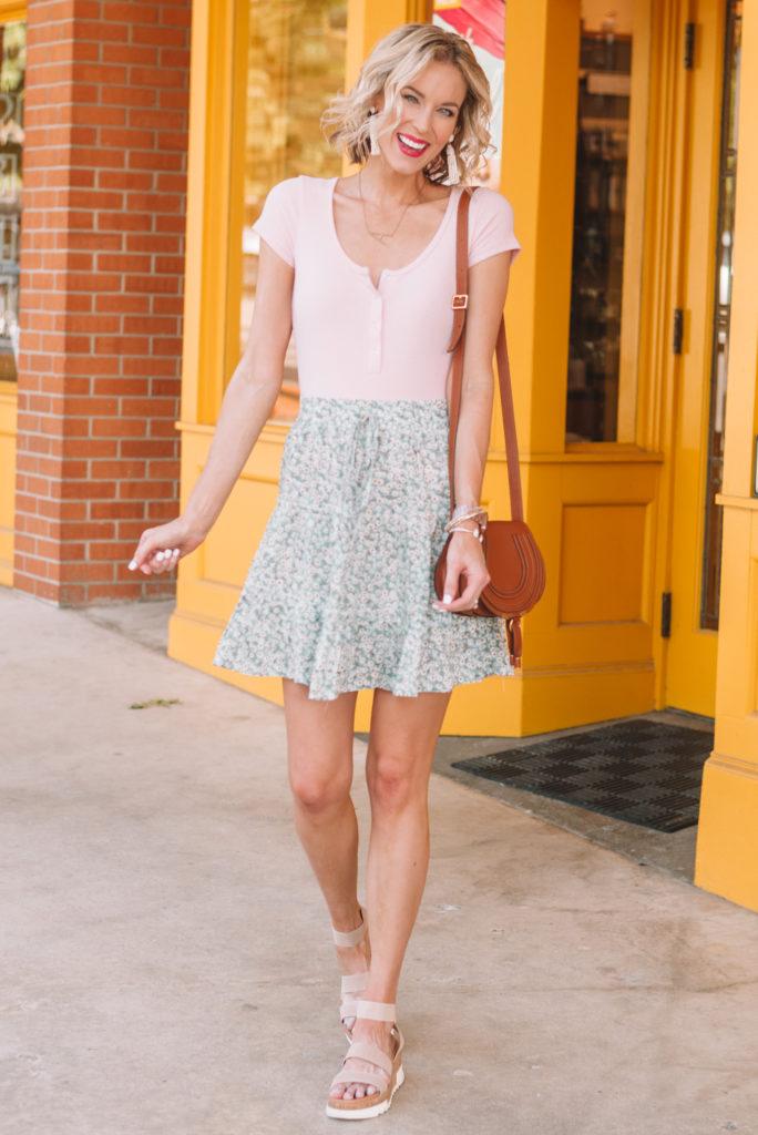 Amazon henlet bodysuit paired with Amazon prime skirt