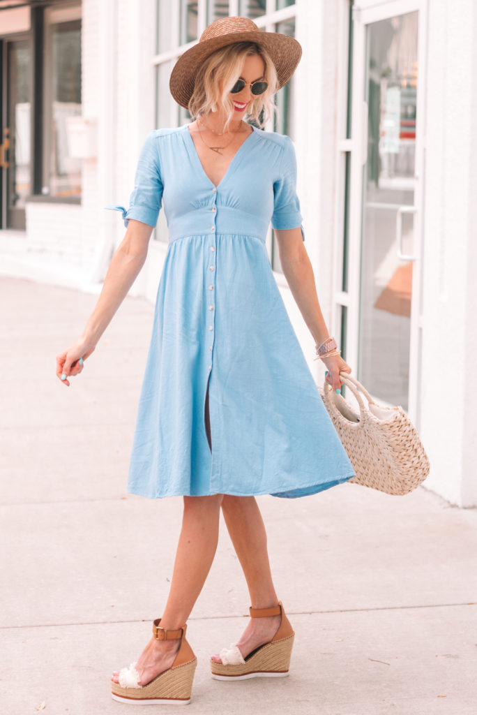 light blue summer v-neck flattering dress