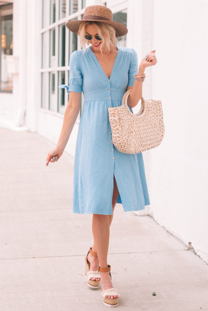 a dress perfect for any summer occasion paired with wedges and a straw bag and hat
