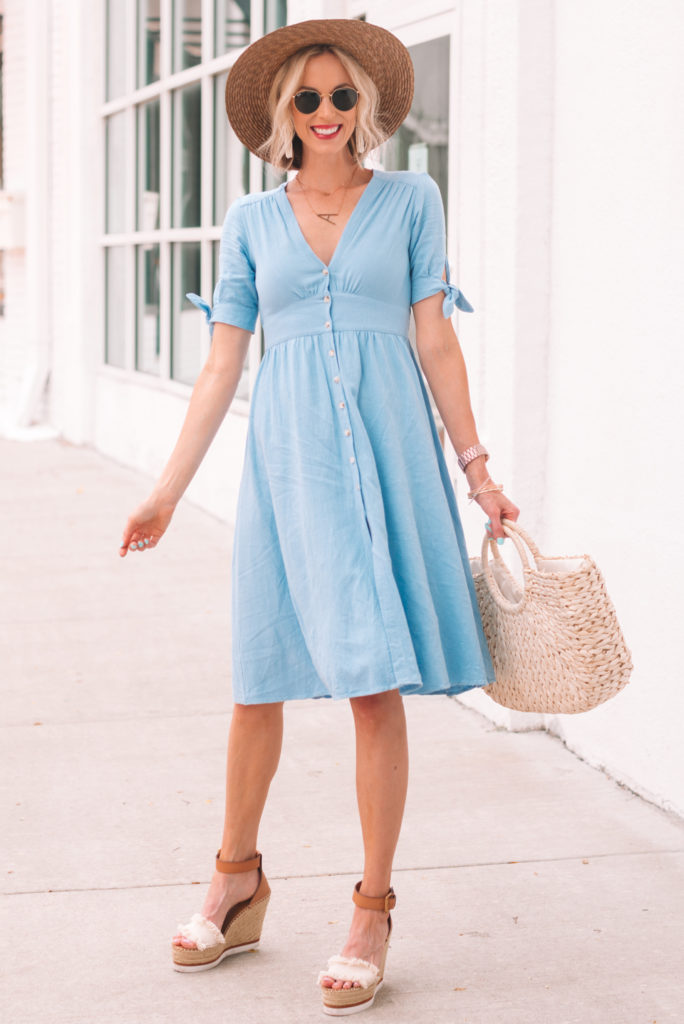the cutest button front blue midi dress