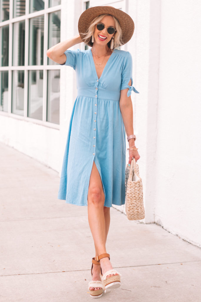 blue button front midi dress