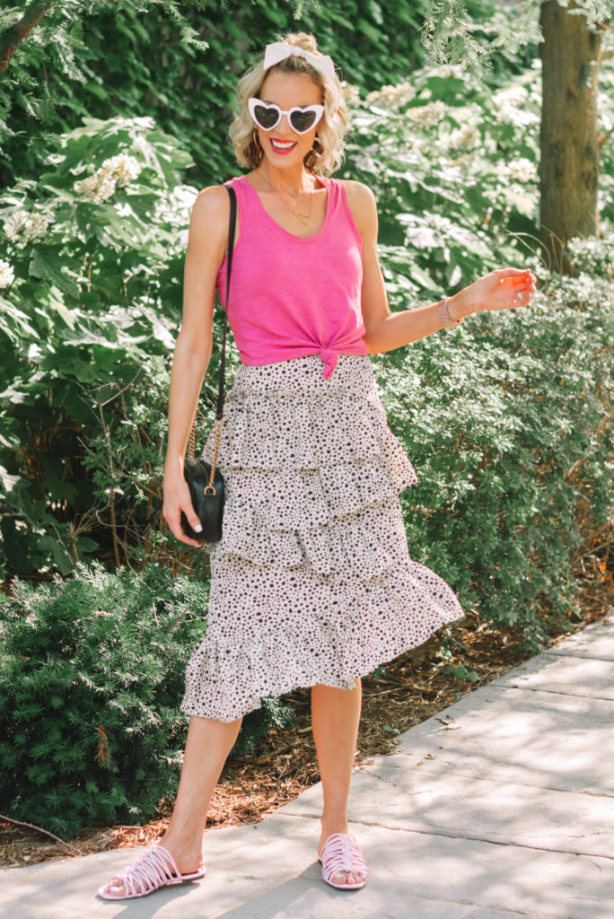 summer midi skirt outfit, casual midi skirt outfit