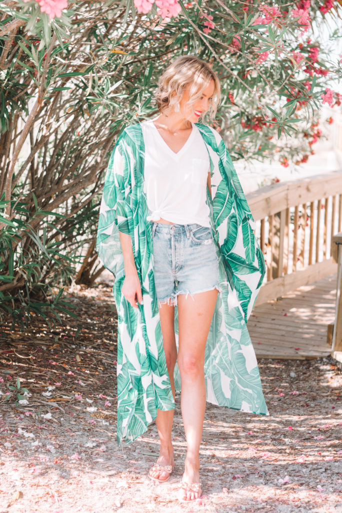 palm print kimono with cutoff denim shorts