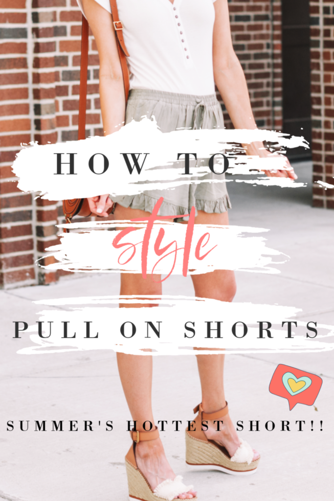 how to style pull on shorts, summer's hottest short trend, comfy shorts for women, elastic waist shorts #pullonshorts #womensshorts #shorts #summershorts