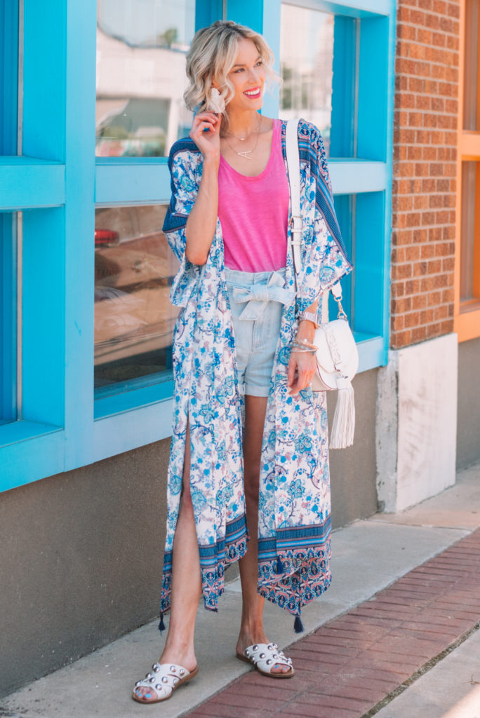 colorful and fun summer outfit, kimono