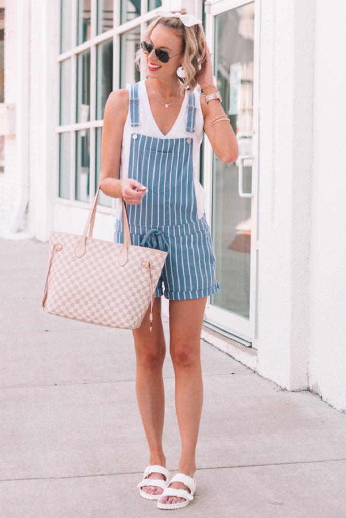 blue and white striped soft overalls, white tank, white eva Arizona birkenstocks