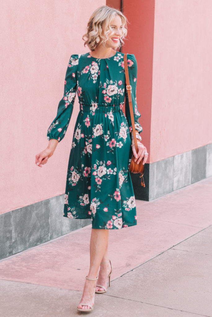 hunter green floral midi dress part of the Nordstrom Anniversary sale 2019