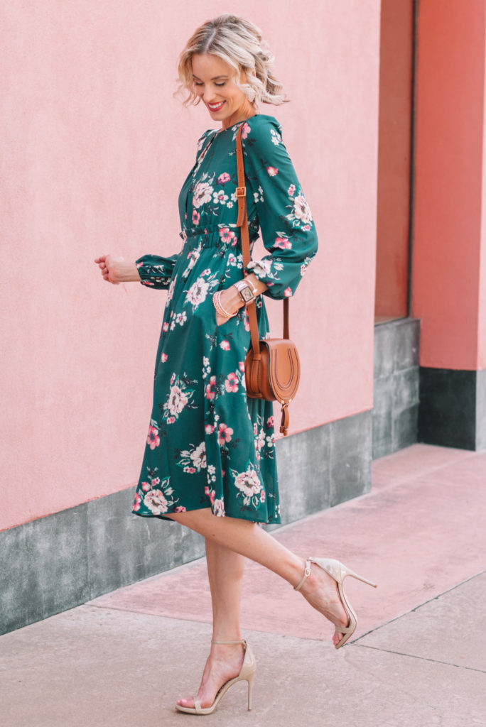 long sleeve floral midi dress with pockets