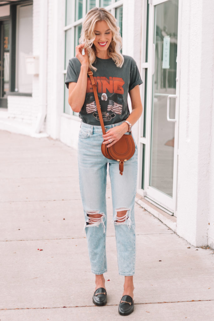 Anine Bing t-shirt with jeans and loafers
