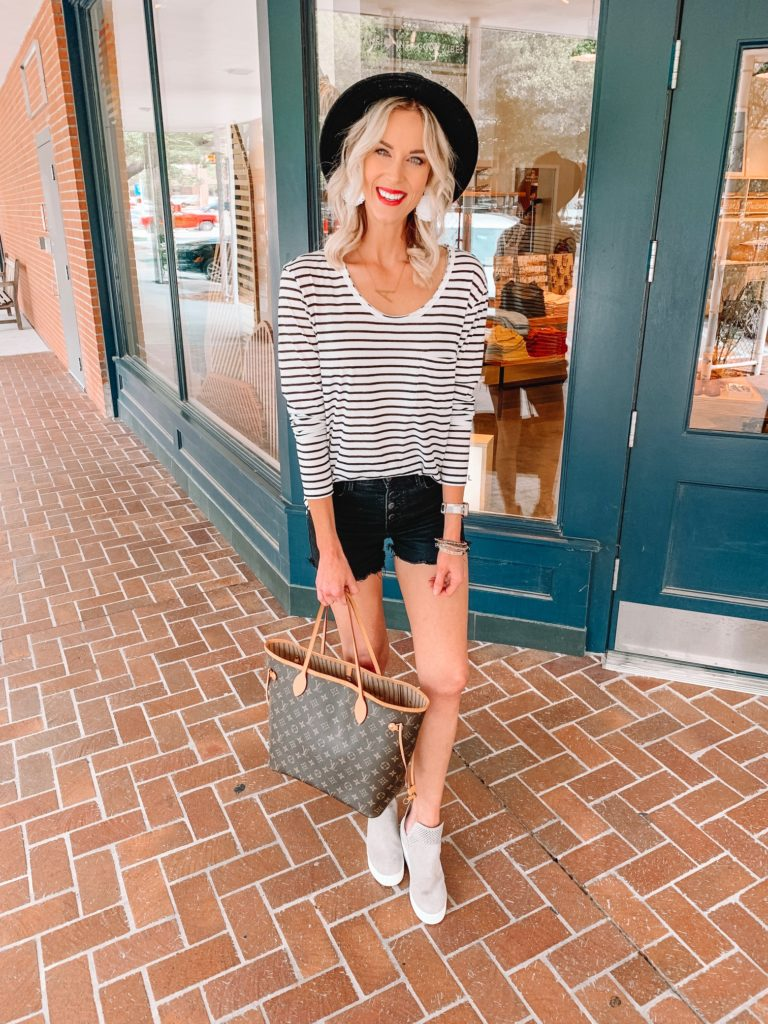 nordstrom sale outfit, easy summer outfit with great basics, striped shirt, wedge sneakers, black shorts