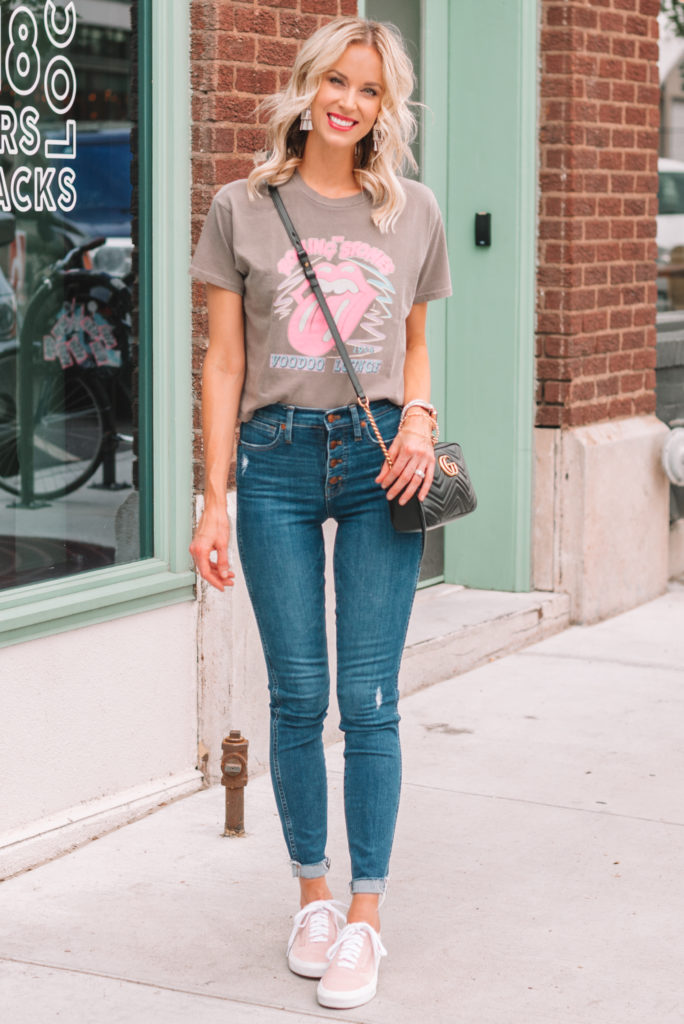 the band tee trend, rolling stone graphic tee, jeans