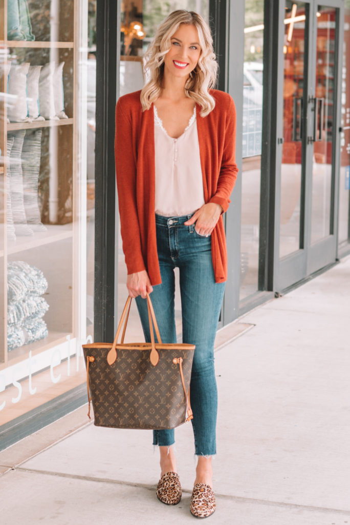 rust colored cardigan, bralette, cami, jeans, leopard mules, how to wear leopard shoes, leopard shoe outfit