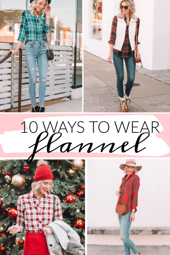 10 ways to wear a flannel shirt this fall, post with multiple different examples of how to wear a flannel shirt from shorts, to jeans, to skirts, to different layering options! #flannel #flannelshirt #plaidshirt #plaid #falloutfit