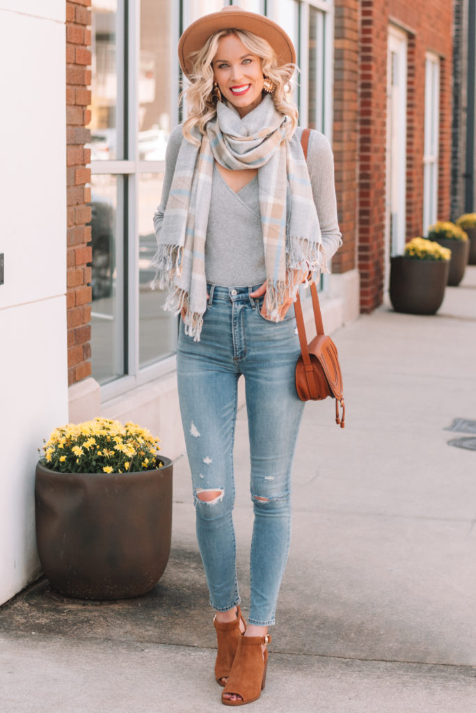 the perfect fall accessories, plaid scarf, peep toe booties, boots, ankle boots