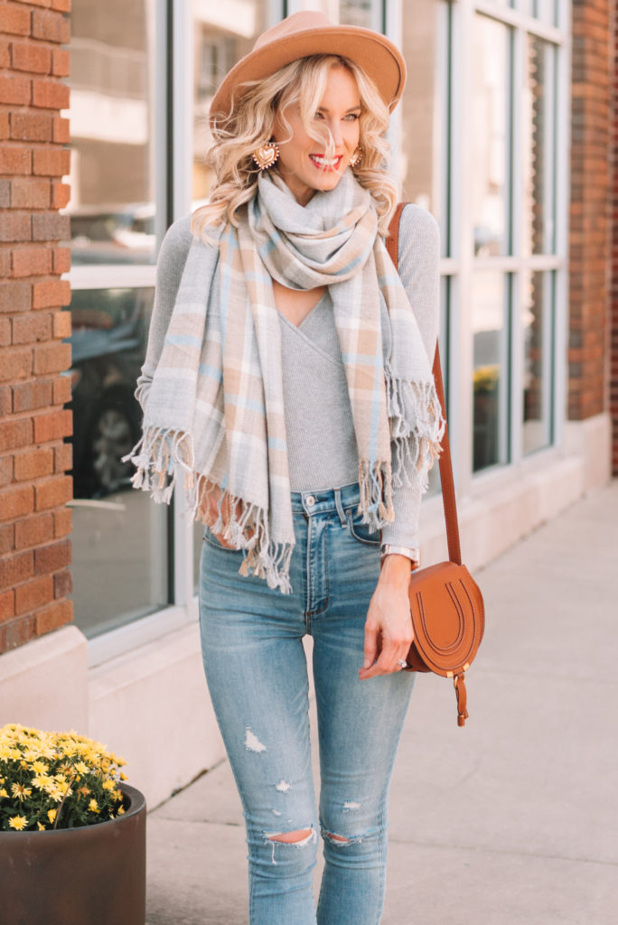 gorgeous fall outfit, neutral fall outfit, plaid scarf for fall, wrap sweater