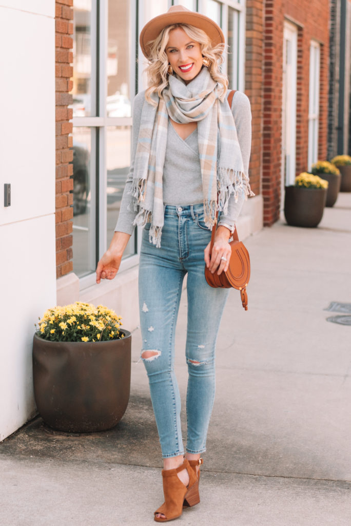neutral fall outfit, grey wrap sweater, tan and grey fall outfit