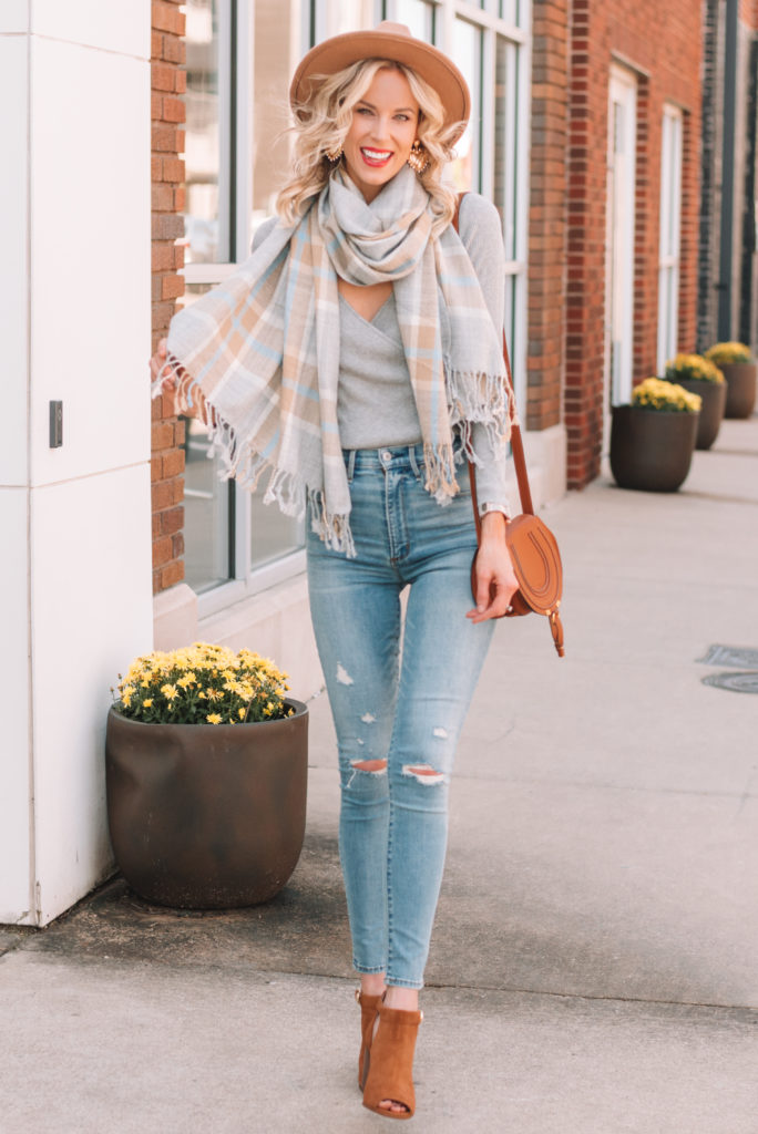 taupe, tan, and grey fall outfit