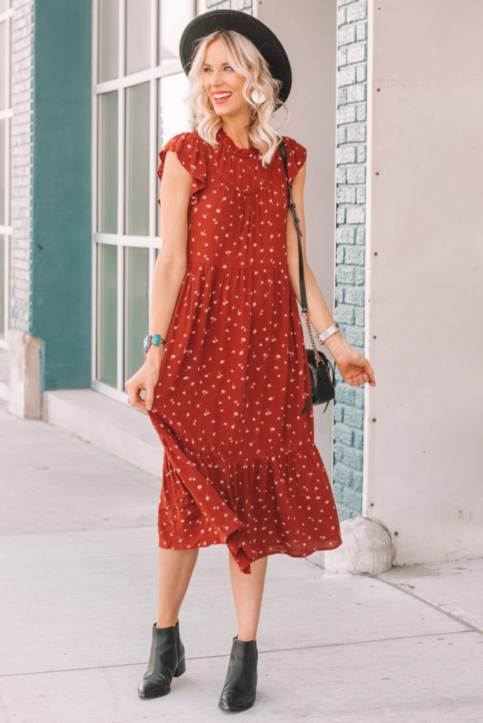 fall midi dress, rust colored midi dress