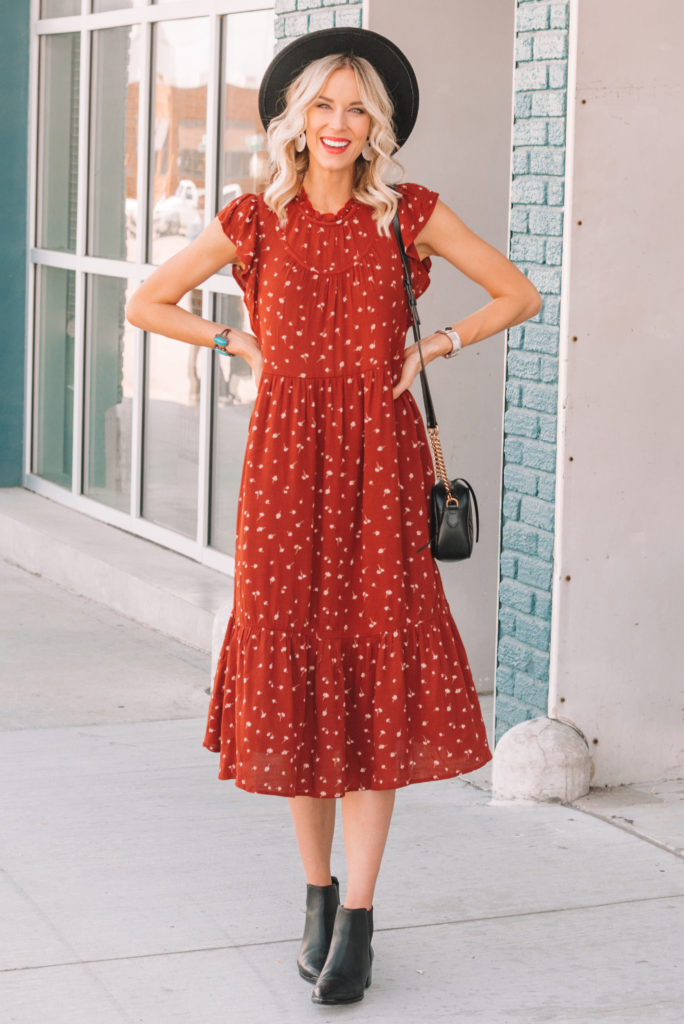 midi dress styled for fall