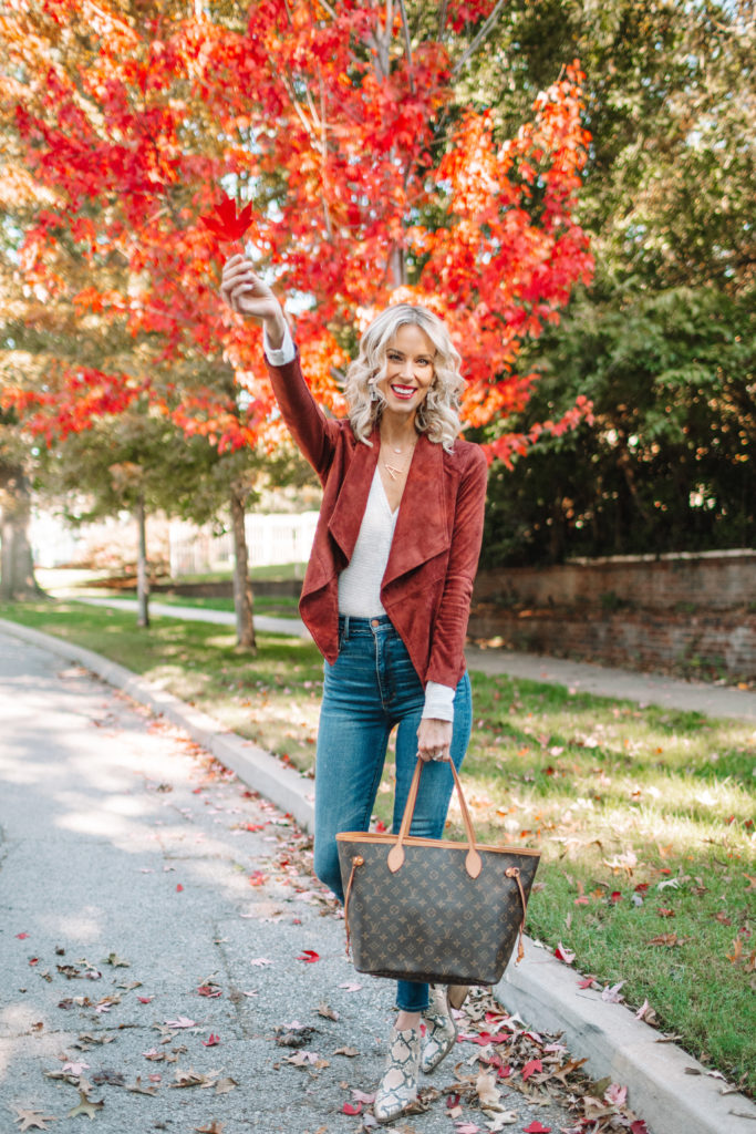 gorgeous fall leaves to match a fall jacket, skinny jeans, snake boots, fall skinny jeans outfit, fall snakeskin boots outfit
