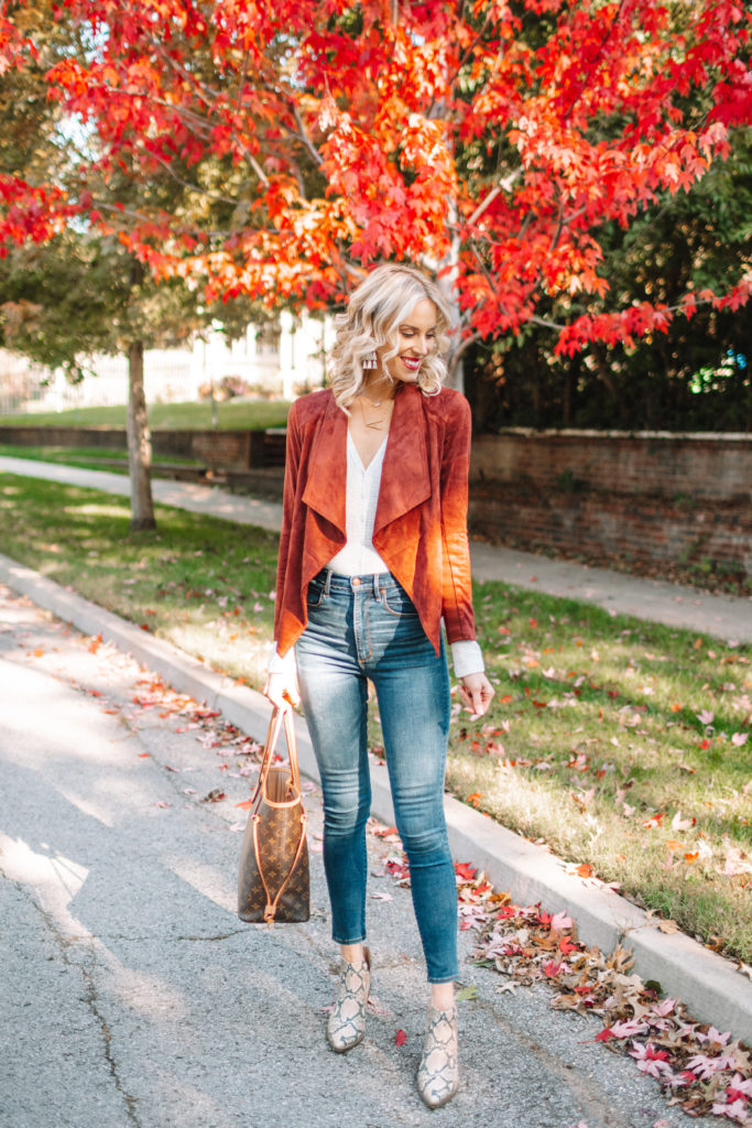 Flattering Faux Suede Drape Jacket, fall outfit with gorgeous fall leaves, snakeskin boots