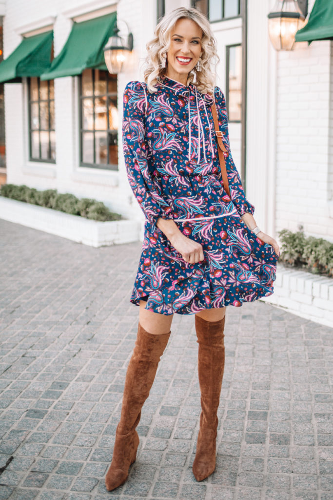 fall dress outfit with over the knee boots, bow neckline