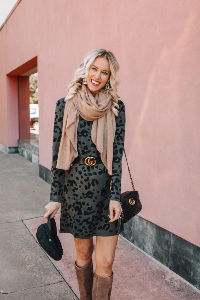 belted sweater dress with scarf for fall