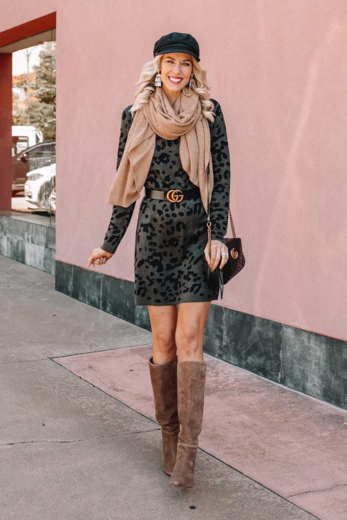EVEREVE ambassador, sweater dress for fall, tall boots