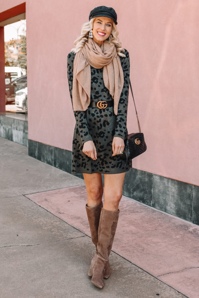 cute fall outfit idea, scarf, sweater dress, tall suede boots
