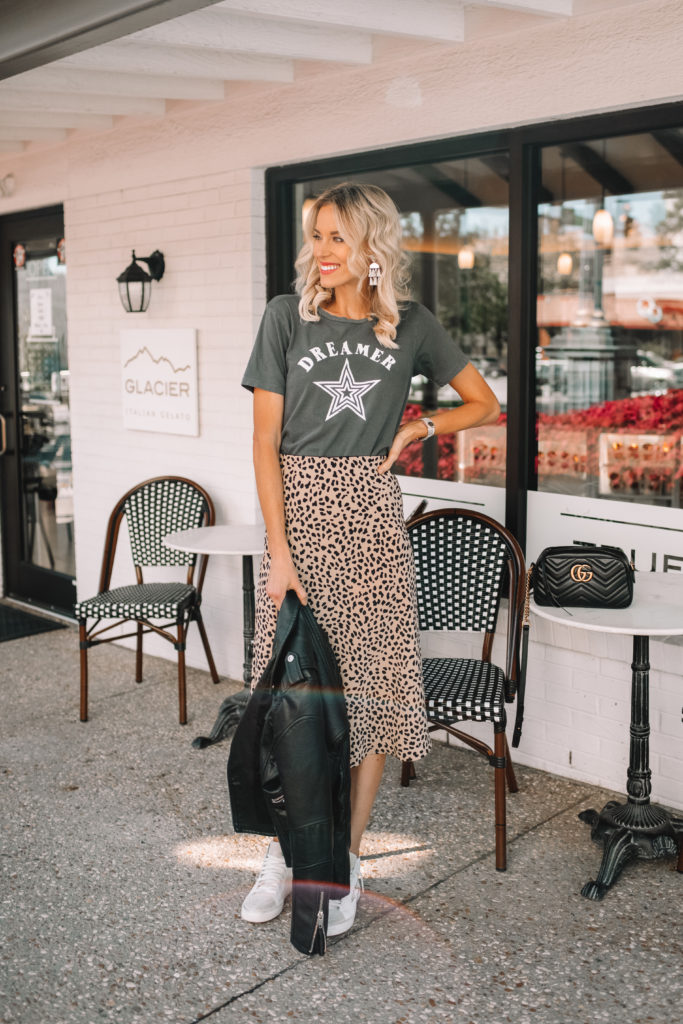 how to wear a midi skirt casually, leopard midi skirt, satin midi skirt, midi skirt with sneakers, midi skirt with graphic tee